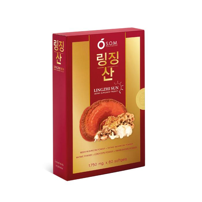 อาหารเสริมเห็ดหลินจือ เอส.โอ.เอ็มหลินจือ ซัน ( S.O.M. LINGZHI SUN) สารสกัดจากเห็ดออแกนิก 5 ชนิด