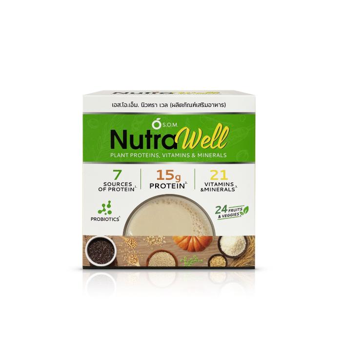 ผลิตภัณฑ์เสริมอาหาร เอส.โอ.เอ็ม.นิวทรา เวล (S.O.M. NutraWell) โปรตีนผงชงดื่ม จากธัญพืช
