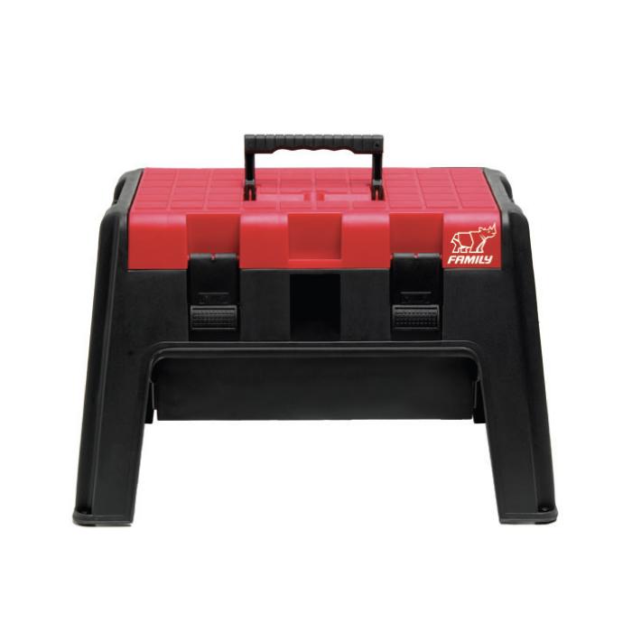 Family กล่องเก็บของอเนกประสงค์ กล่องเครื่องมือช่าง กล่องเก็บของนั่งได้ แบบมีหูหิ้ว (สีแดง)