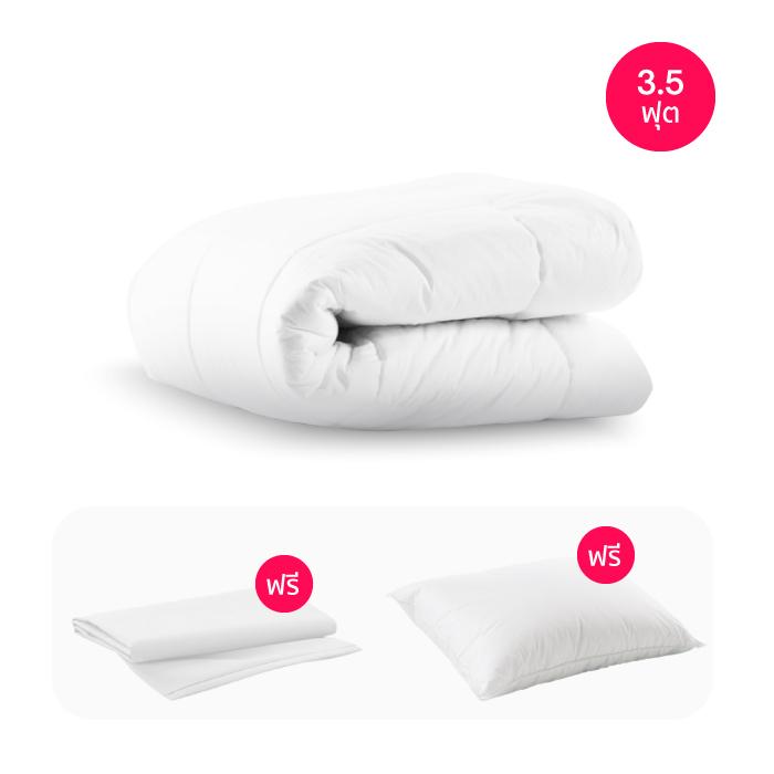 ไส้ผ้านวม Sleep Happy ผ้านวมไมโครไฟเบอร์ พร้อม ปลอกผ้านวม (คอตตอน 100% 300 เส้นด้าย) (3.5 ฟุต)