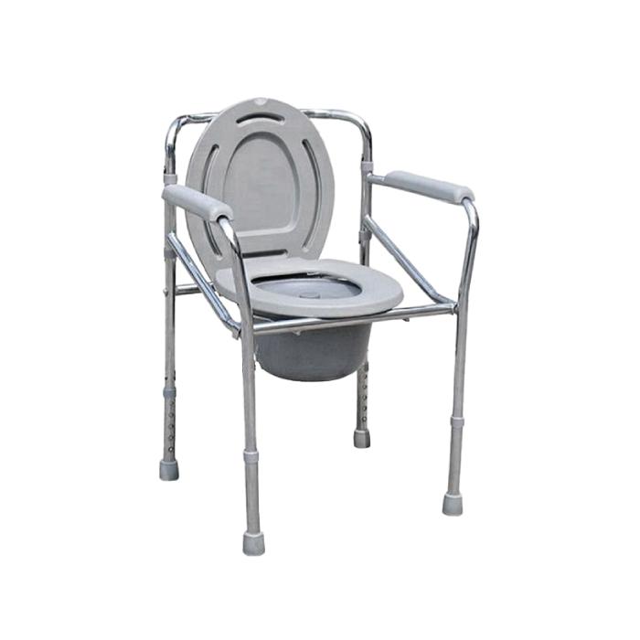 Abloom เก้าอี้นั่งถ่าย แบบมีที่วางแขน พับเก็บได้ พร้อมถังแบบพกพา (สีเทา)