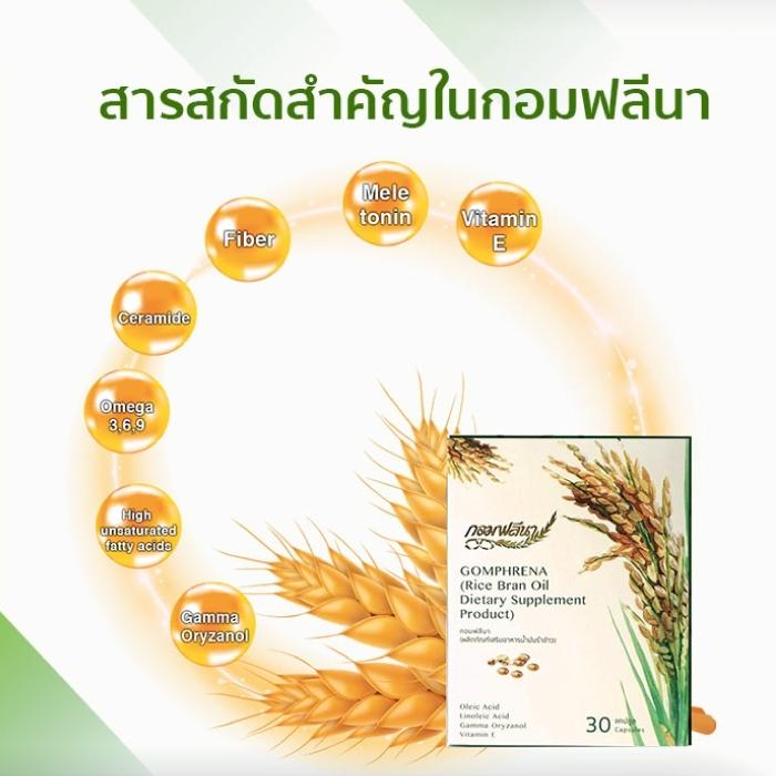 ผลิตภัณฑ์เสริมอาหาร น้ำมันรำข้าวจมูกข้าว Gomphrena (กอมฟลีนา)