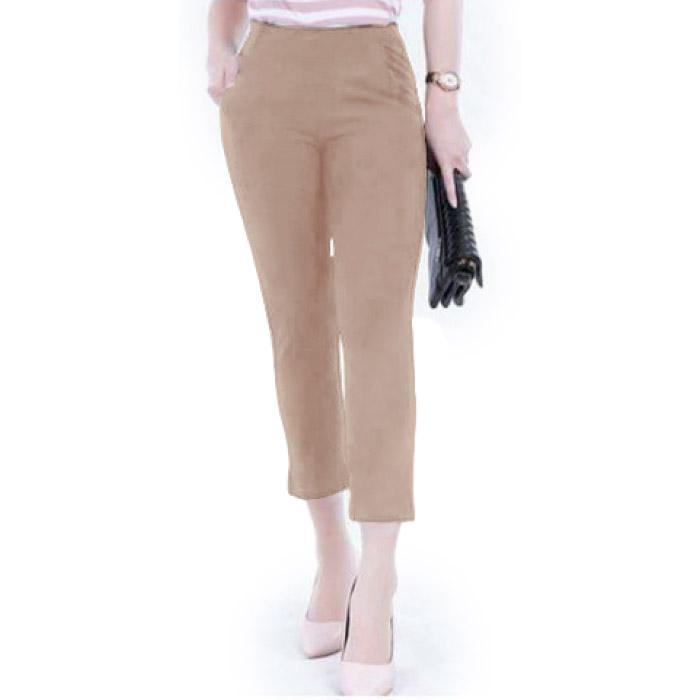EASY WEAR กางเกงผ้าโรเช่ กางเกงผ้ายืด กางเกงทำงาน กางเกงเอวสูง ขา 8 ส่วน