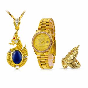 (L) เซ็ตนาฬิกาเศรษฐีนาคาล้อมเพชร (สำหรับผู้ชาย)