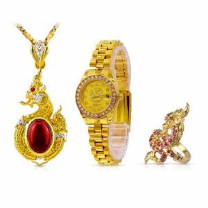 (M) เซ็ตนาฬิกาเศรษฐีนาคาล้อมเพชร (สำหรับผู้หญิง)