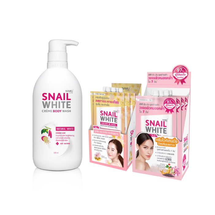 NAMU LIFE SNAILWHITE CRÈME BODY WASH NATURAL WHITE ครีมอาบน้ำเนื้อโลชั่น สูตรเข้มข้น (ขนาด 500ml.)